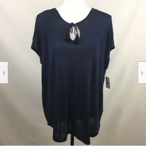 Simply Styled Top Size L Navy Linen Blend